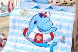 海豚船长图案儿童珍珠棉被子